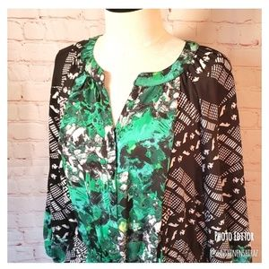 ■Style & Co■ (XL) Print Blouse Pop Over Top